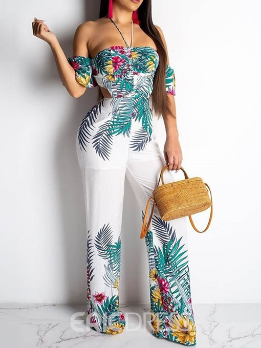 Ericdress Lace-Up Travel Look Floral Casual Slim Jumpsuit