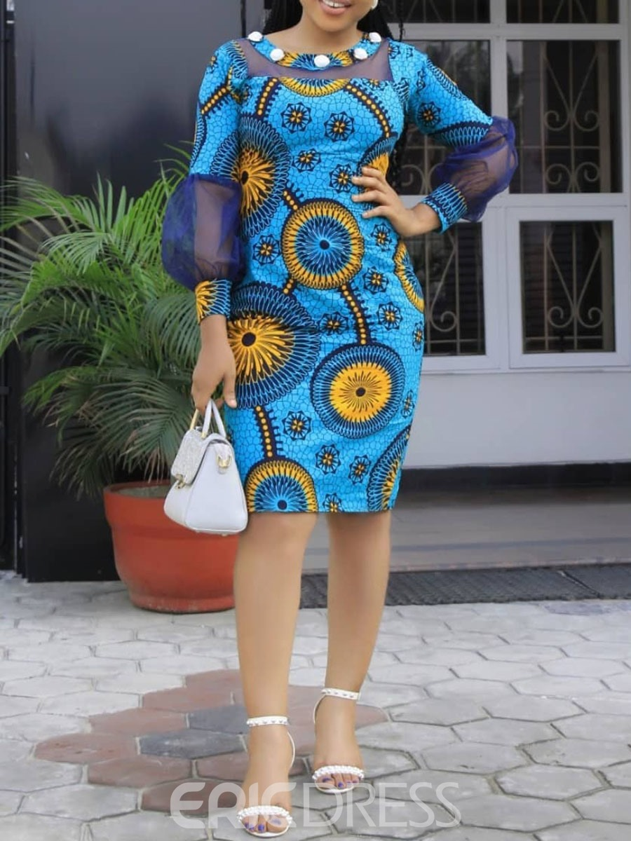 Ericdress African Fashion Round Neck Knee-Length Bodycon Dress