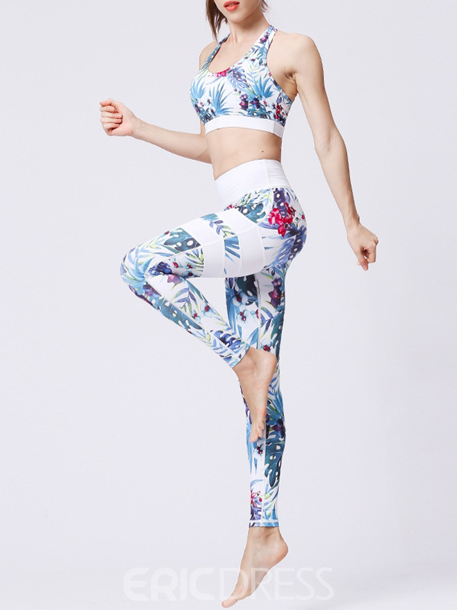 Ericdress Floral Print Sleeveless Pullover Gym Sports Sets