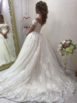Ericdress Appliques Appliques Off-The-Shoulder Wedding Dress