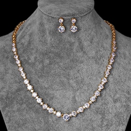 European Gemmed Floral Wedding Jewelry Sets