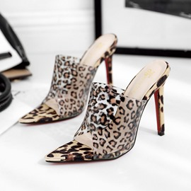 Ericdress Leopard Stiletto Heel Slip-On Women's Mules Shoes