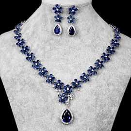 Floral European Necklace Gemmed Wedding Jewelry Sets
