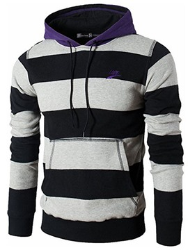 Ericdress Stripe Pullover Slim Men's Hoodies