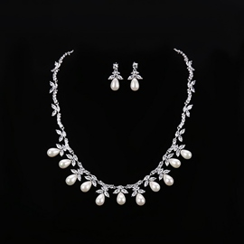 European Pearl Inlaid Water Drop Jewelry Sets (Wedding)
