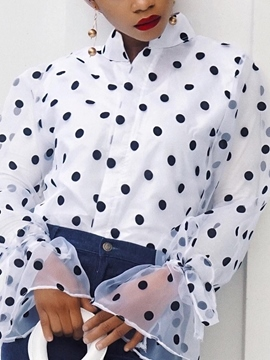 Ericdress Print Flare Sleeve Polka Dots Long Sleeves Standard Blouse