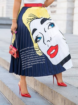 Ericdress Cartoon Pleated Print Mid-Calf High Waist Skirt(Without Waistband)