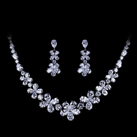 Gemmed Water Drop Necklace Wedding Jewelry Sets