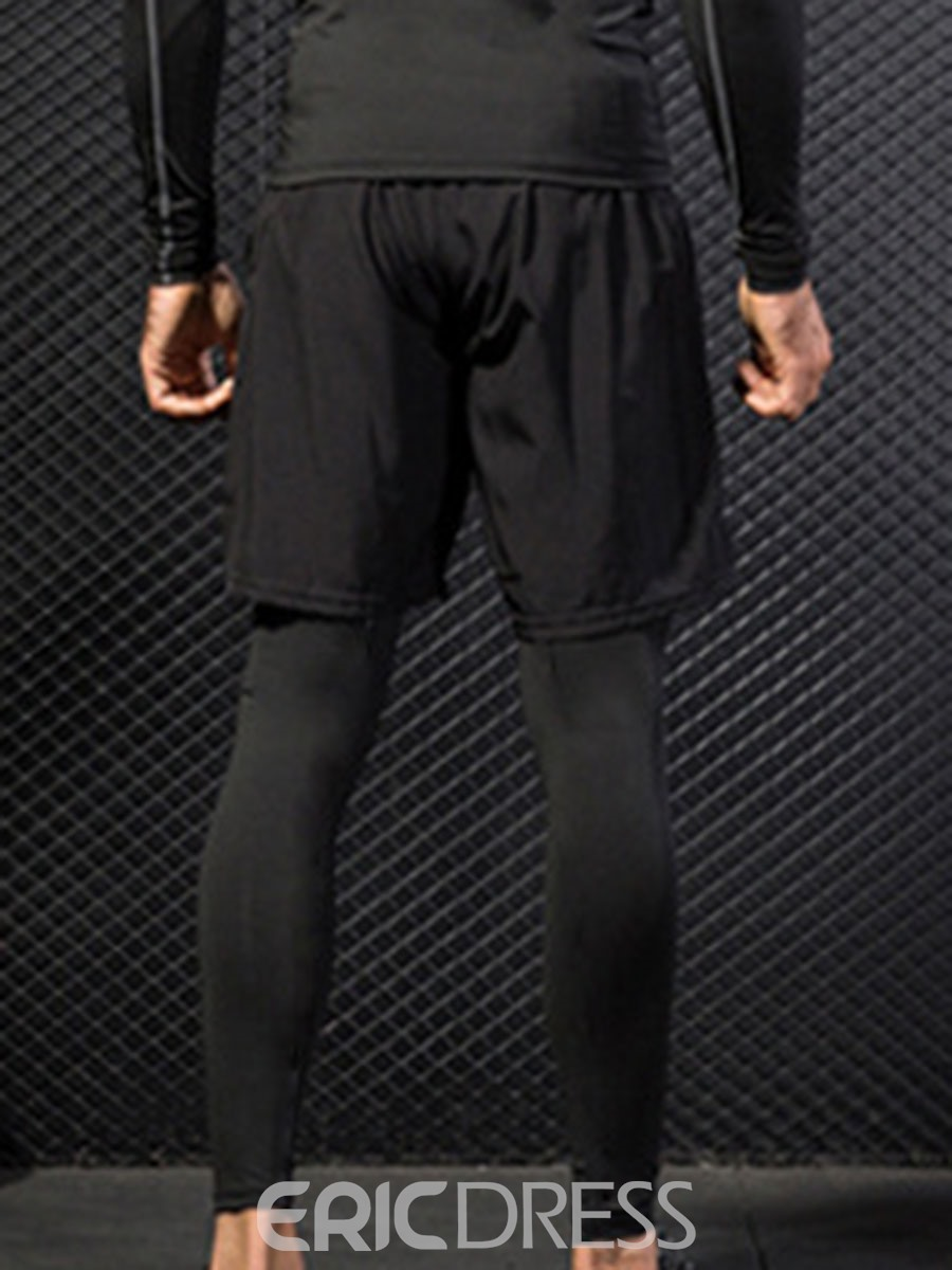 Ericdress Men Solid Patchwork Running Fake Two Pieces Sports Pants