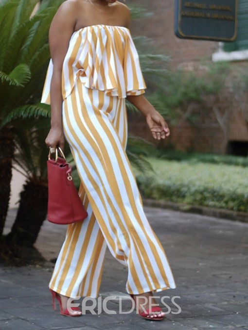Ericdress Stripe Dressy Wide Legs Loose Women's Jumpsuit