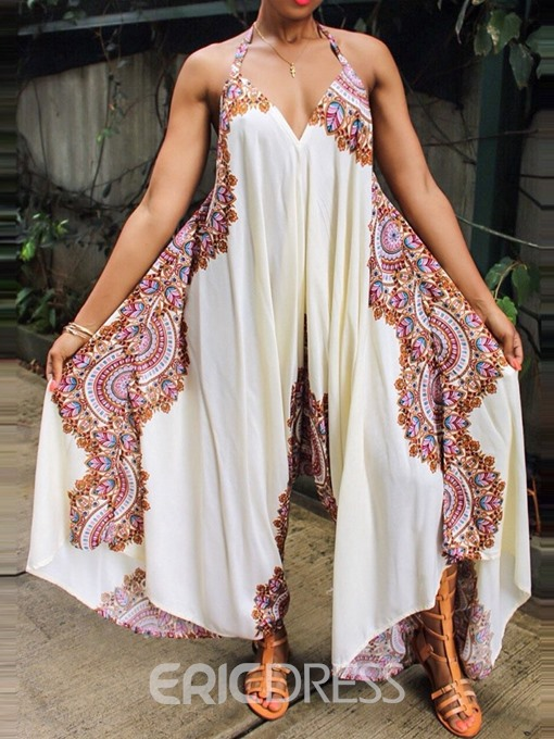 Ericdress Print Floral African Style Loose Jumpsuit