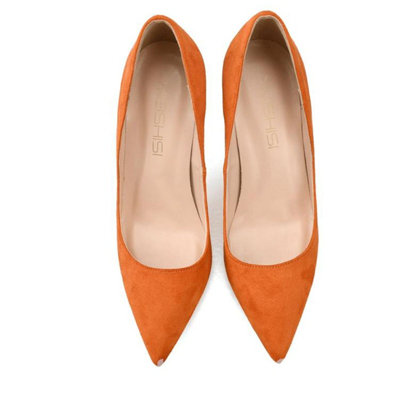 Ericdress Faux Suede Stiletto Heel Pointed Toe Slip-On Women's Pumps