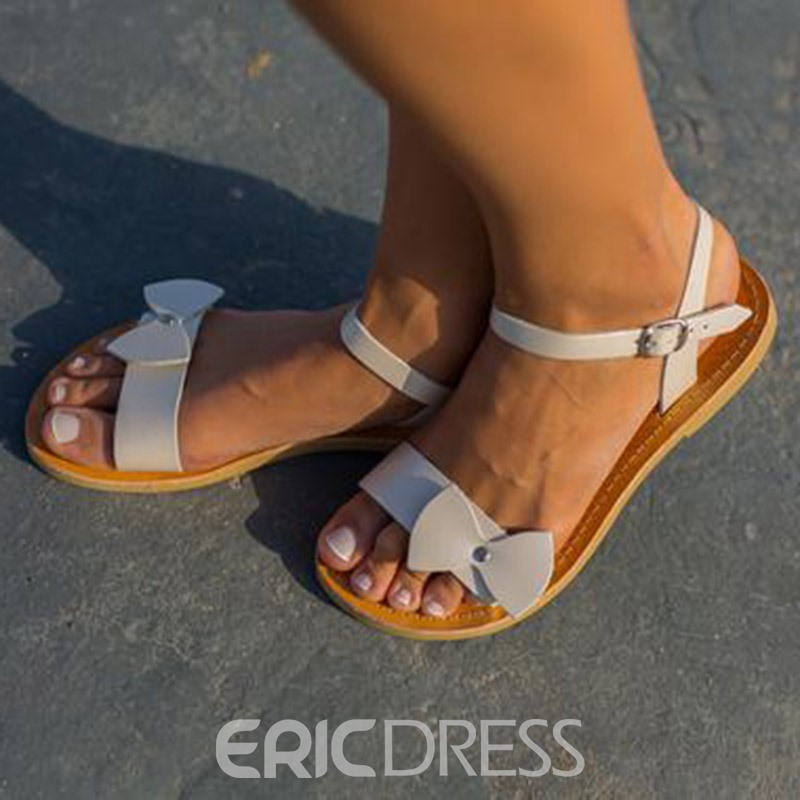 Ericdress PU Bowknot Buckle Ankle Strap Women's Flat Sandals