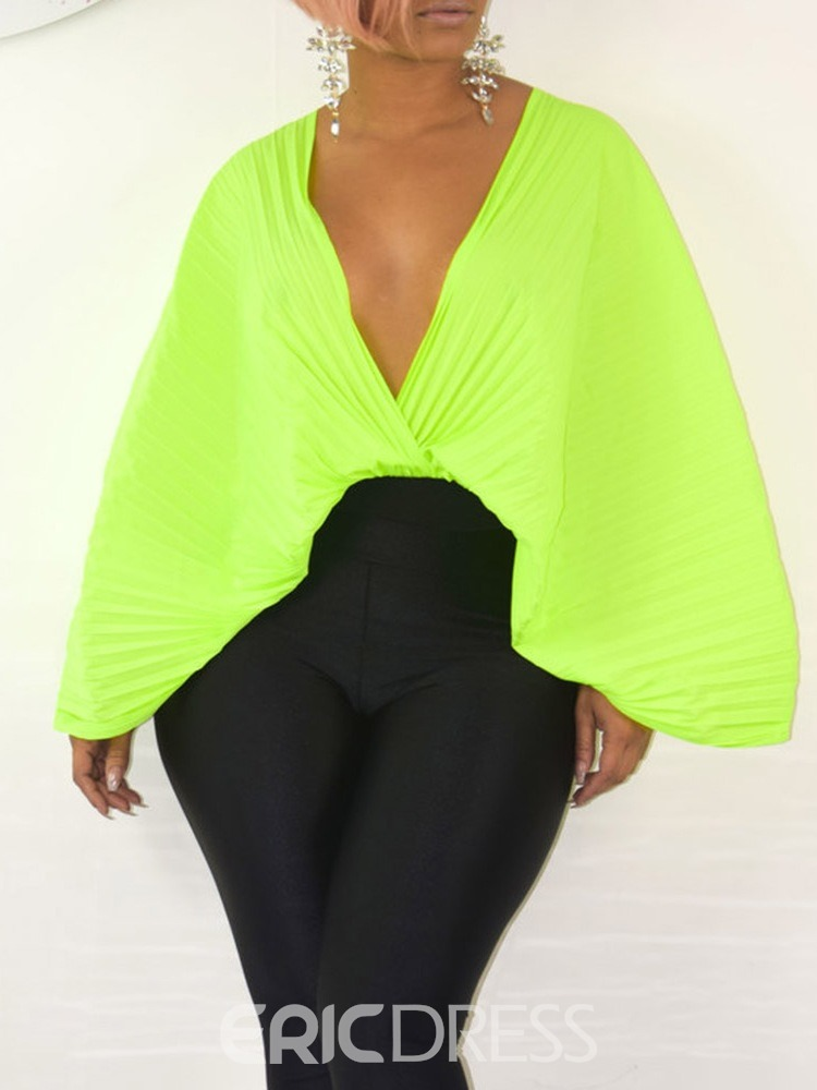 Ericdress Pleated Backless V-Neck Blouse