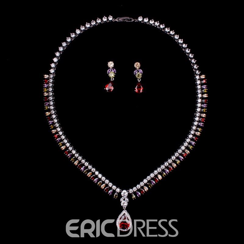 European Gemmed Water Drop Wedding Jewelry Sets
