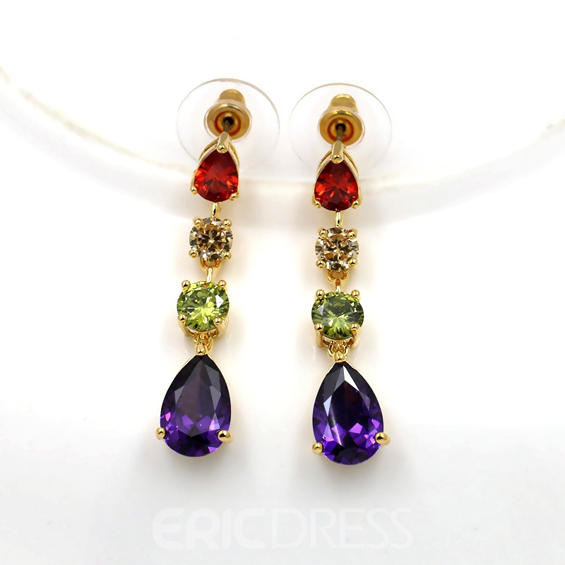 European Water Drop Gemmed Wedding Jewelry Sets