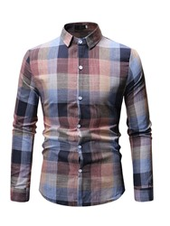 Ericdress Plaid Button Up Mens Fashion Single-Breasted Shirt фото