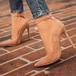 Ericdress Faux Suede Pointed Toe Stiletto Heel Womens Nude Pumps