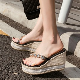 390e916bf953a8 Ericdress Rhinestone Wedge Heel Flip Flop Women s Sandals