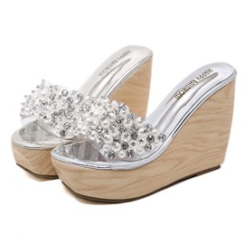 e662d70d1a17e9 Ericdress Beads Platform Flip Flop Wedge Heel Women s Sandals