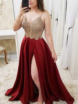 Ericdress Beading Spaghetti Straps Evening Dress With Side Split