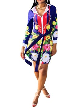 Ericdress Floral Long Sleeve Belt Asymmetric Bodycon Dress