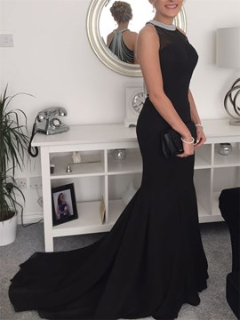 Ericdress Beading Halter Black Mermaid Evening Dress 2019