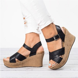 Ericdress PU Buckle Wedge Heel Strappy Women's Sandals