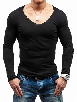 Ericdress Plain European Slim Mens Long Sleeve T-shirt