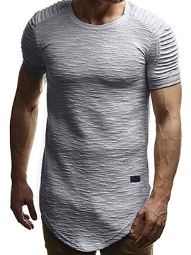 Ericdress Plain European Round Neck Pleated Mens Short Sleeve T-shirt