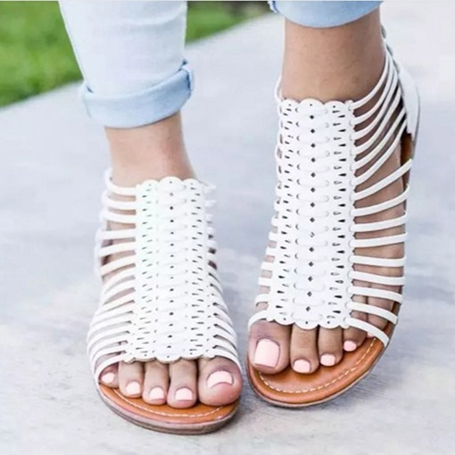 Ericdress PU Hollow Zipper Open Toe Women's Flat Sandals