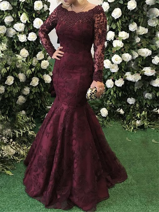 Ericdress Long Sleeves Lace Beading Mermaid Evening Dress