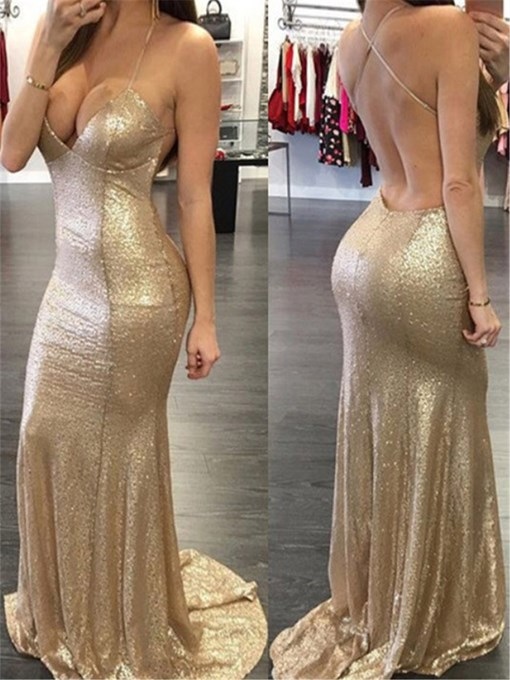 Ericdress Mermaid Backless Sequins Halter Evening Dress