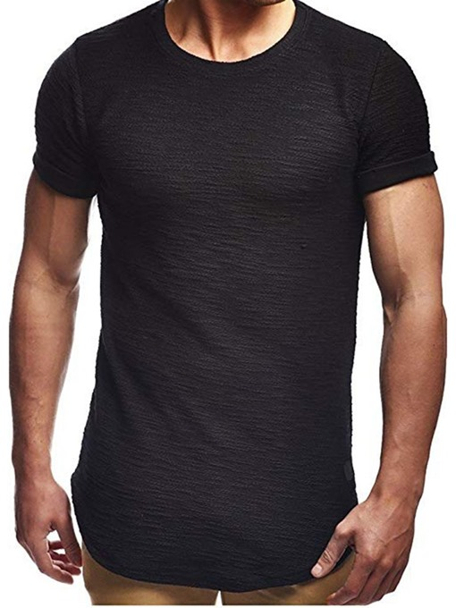 Ericdress Plain Round Neck Short Sleeve Mens Basic Casual T-shirt