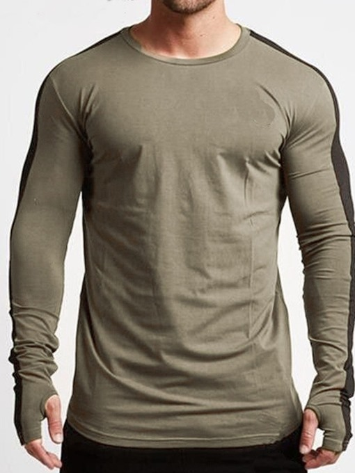 Ericdress Round Neck Color Block Casual Mens Slim T-shirt