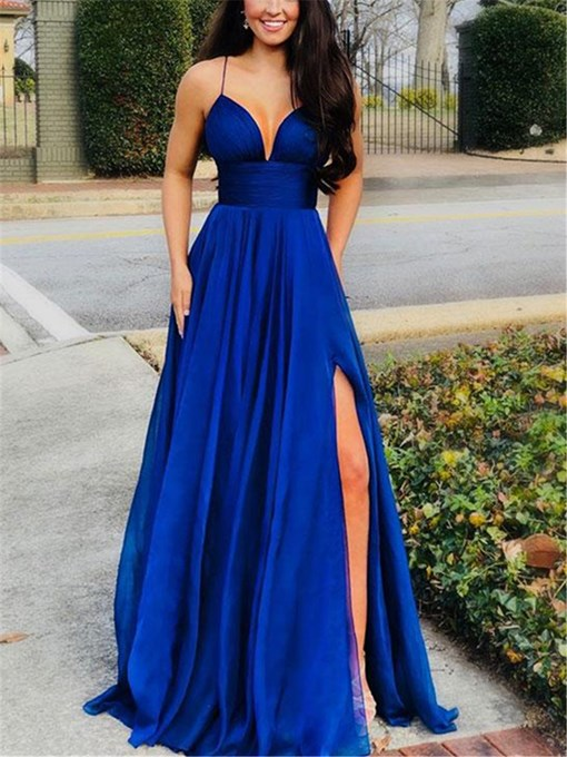 Ericdress Spaghetti Straps Split-Front A-Line Prom Dress