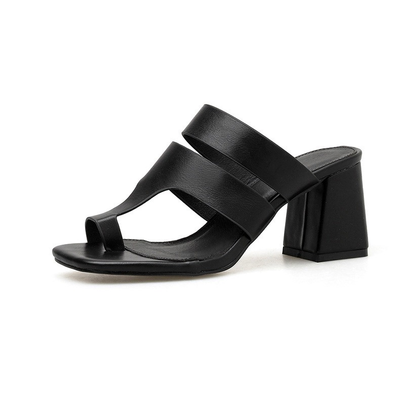 Ericdress PU Toe Ring Chunky Heel Slip-On Women's Sandals