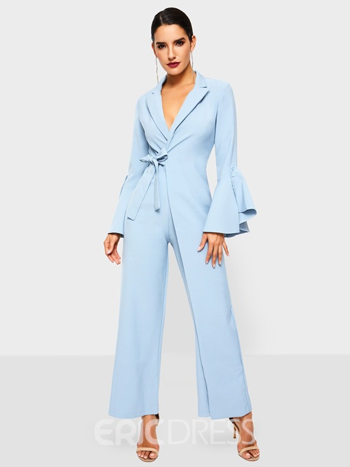 Ericdress Flare Sleeve Plain Lace-Up Slim High Waist Jumpsuit