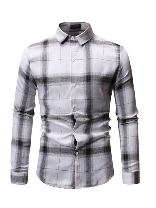 Ericdress Plaid Lapel Mens Single-Breasted Casual Shirt