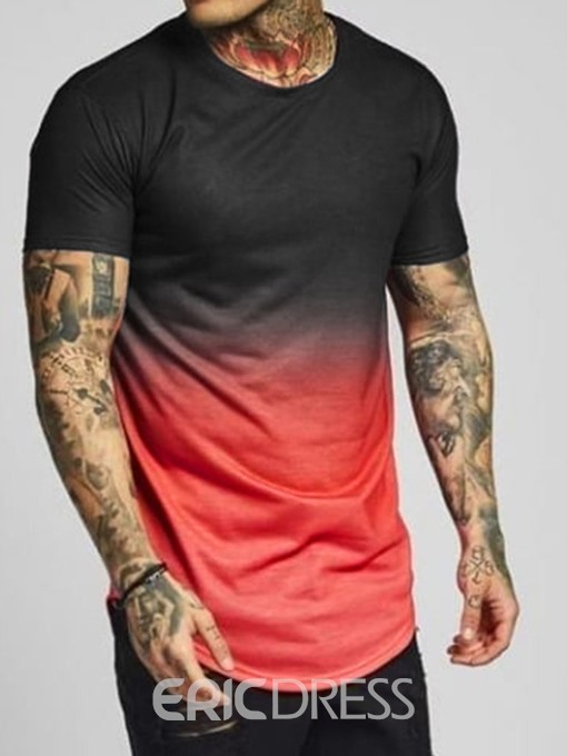 Ericdress Color Block Mens Short Sleeve Slim T-shirt