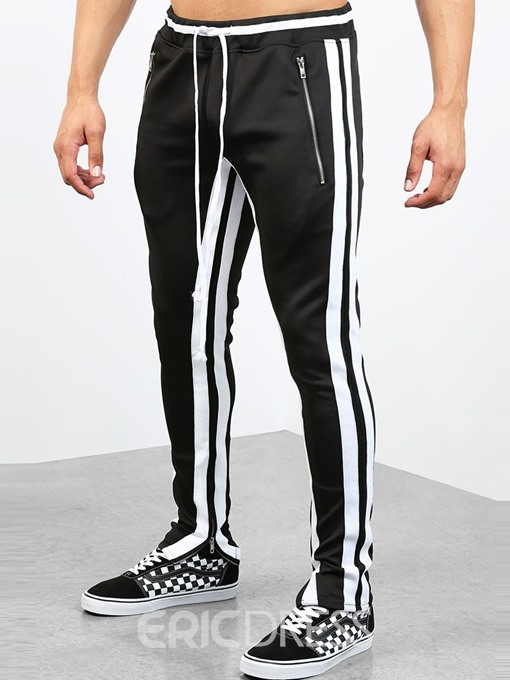 Ericdress Patchwork Striped Mens Sports Casual Pants