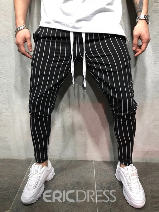 Ericdress Vertical Striped Mens Lace-Up Casual Pants