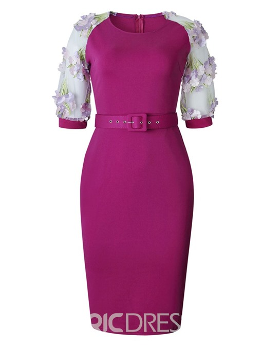 Ericdress Patchwork OL Half Sleeves Belt Bodycon Dress