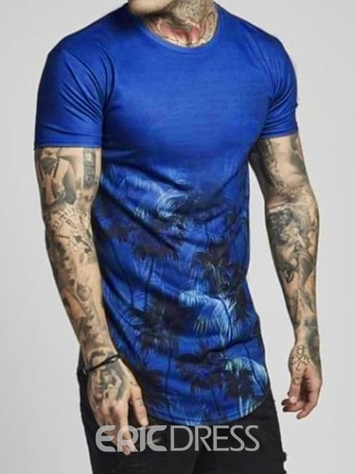 Ericdress European Print Slim Mens Short Sleeve T-shirt
