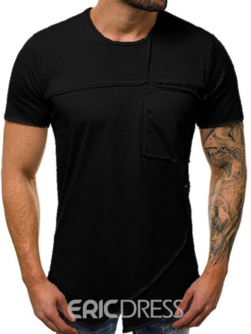 Ericdress Plain Casual Round Neck Slim Mens T-shirt
