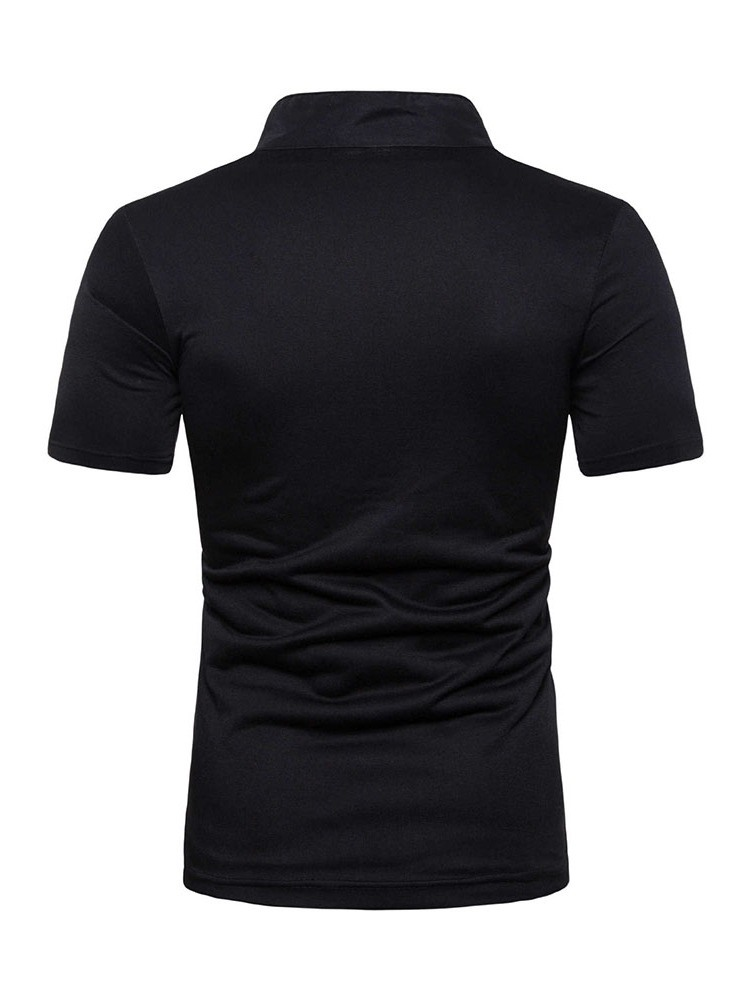 Ericdress Plain Stand Collar Button Mens Short Sleeve Slim T-shirt