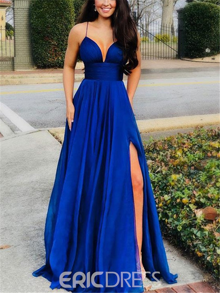 Ericdress Spaghetti Straps Split-Front A-Line Prom Dress 2019