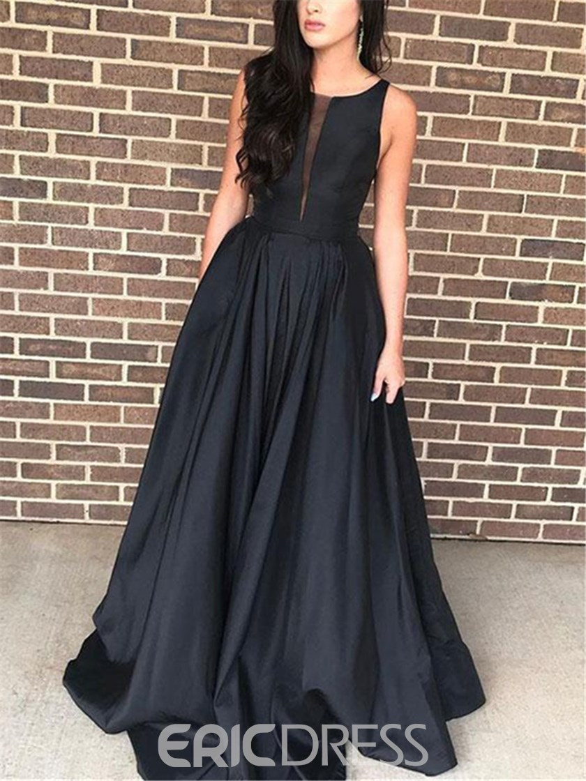 Ericdress Floor-Length Sleeveless A-Line Black Evening Dress 2019