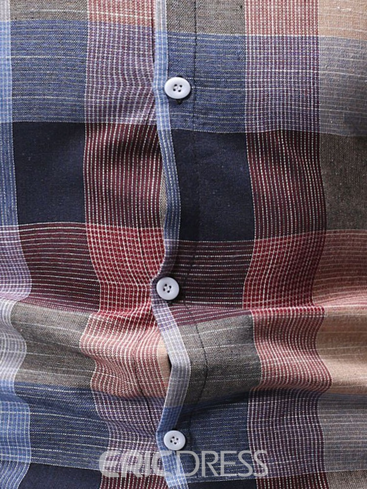 Ericdress Plaid Button Up Mens Fashion Single-Breasted Shirt