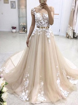 Ericdress Scoop Short Sleeves Hall Wedding Dress 2019